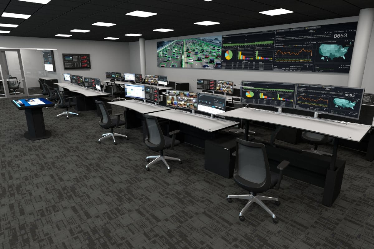 real time crime center with video wall displaying traffic information and other statistics