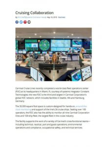 """Beginning of article on """"Cruising Collaboration"""" which features Constant Technologies' work on the Carnival Cruise Lines Fleet Operations Center"""