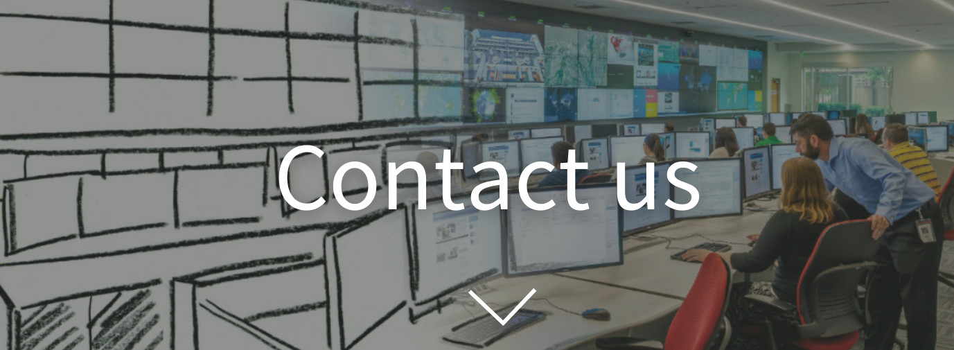 "image of operations center sketch becoming a photograph with ""contact us"" as overlay"