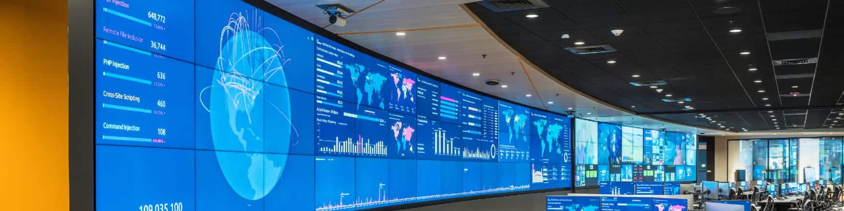 large, curved video wall