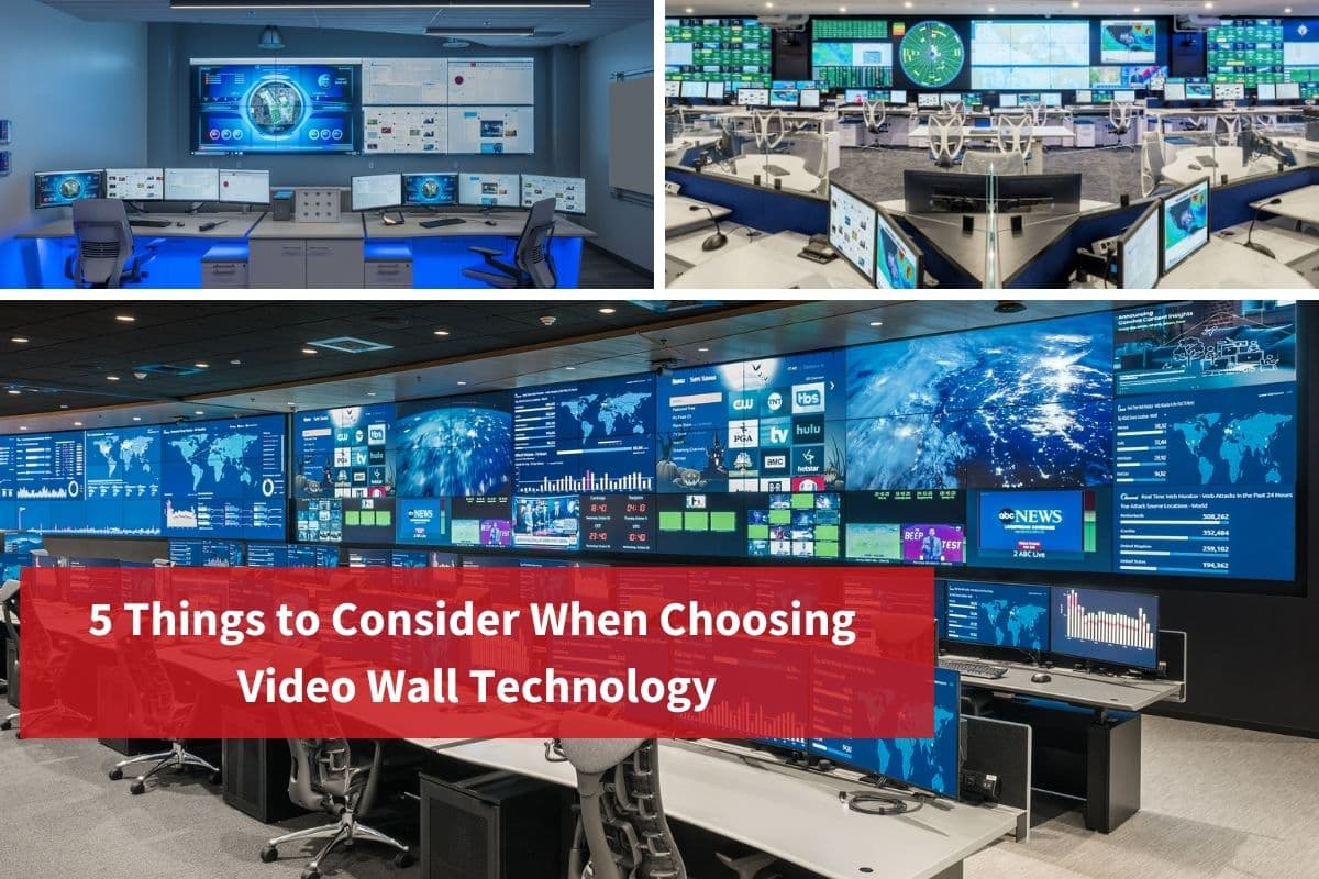 """Grid with 3 images of operations centers. Text overlay says, """"5 Things to Consider When Choosing Video Wall Technology"""""""